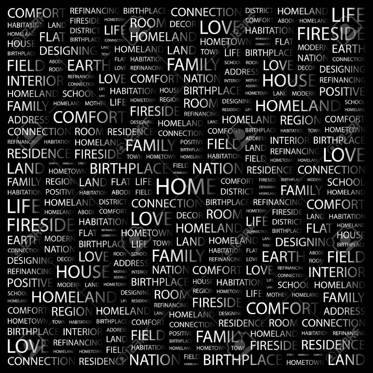 HOME. Word collage on black background.   illustration. Stock Vector - 7358455