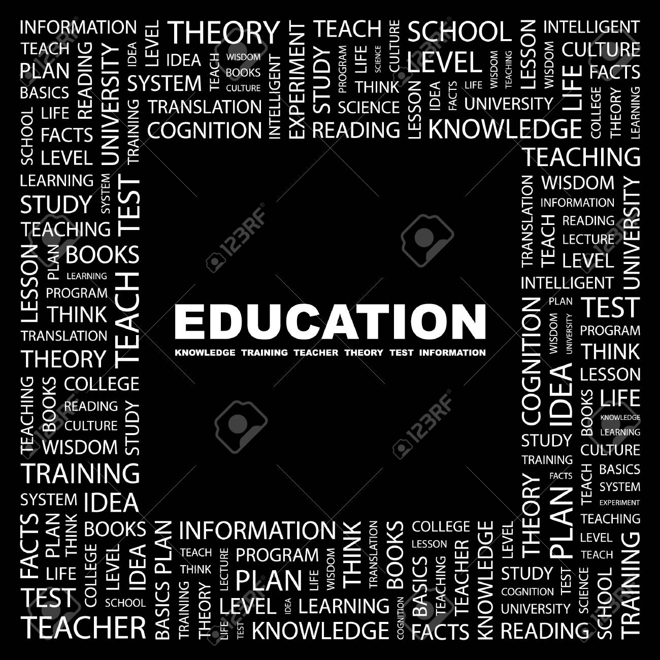 EDUCATION. Word collage on black background. illustration. Stock Vector - 7355604