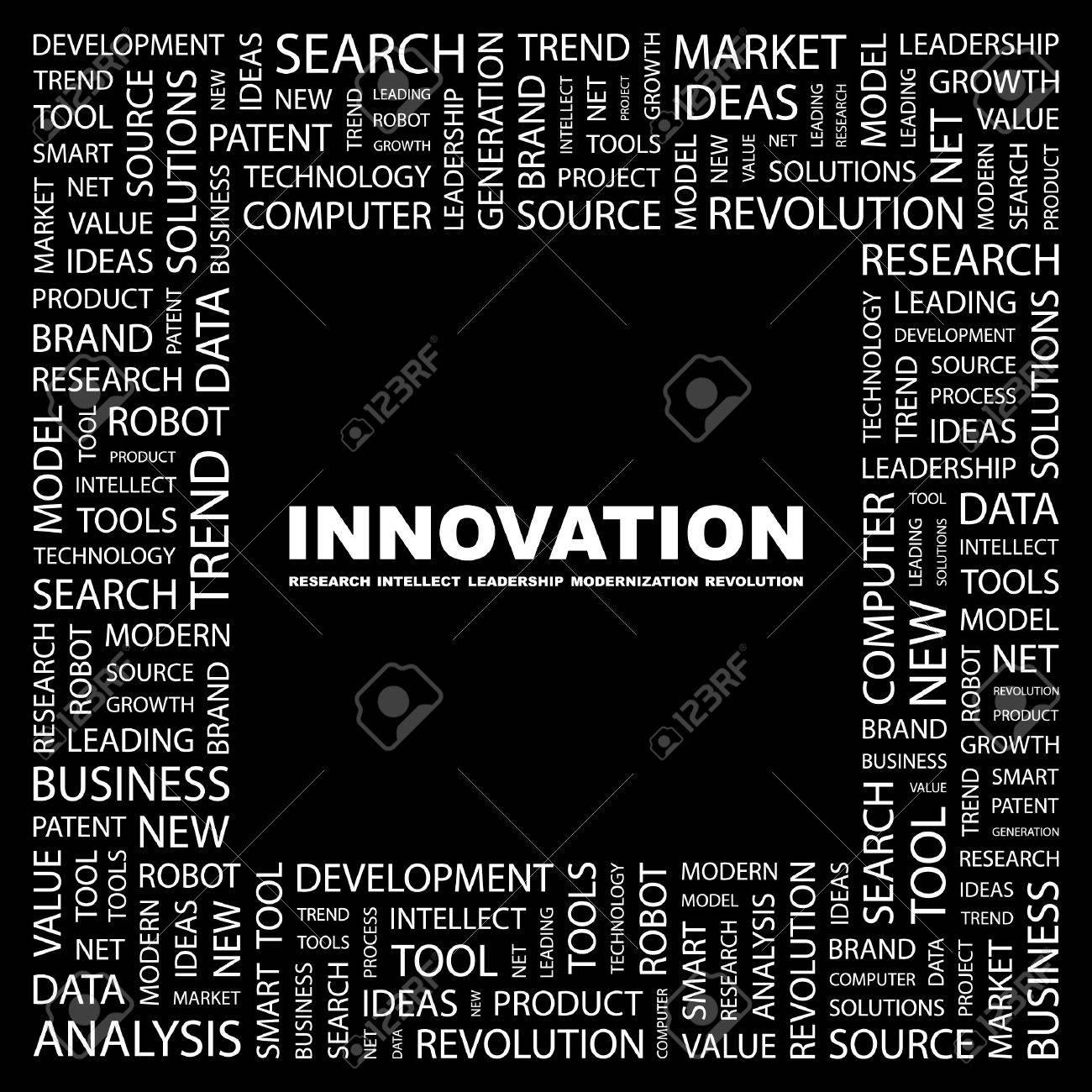 INNOVATION. Word collage on black background.   illustration. Stock Vector - 7355675