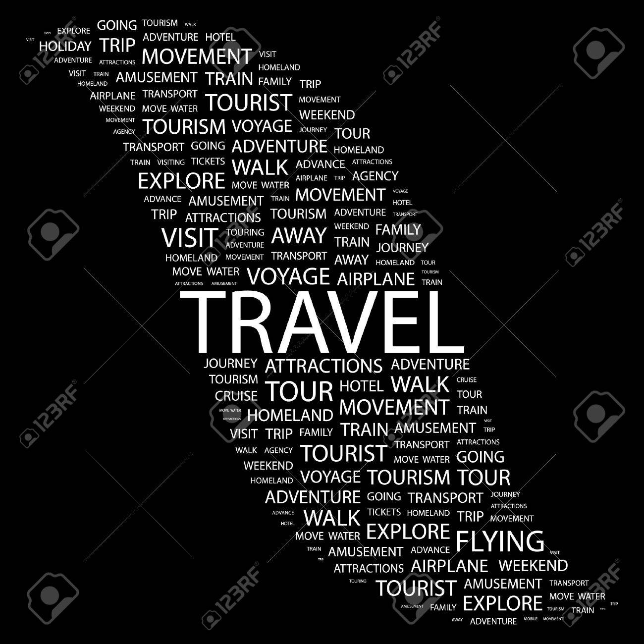 TRAVEL. Word collage on black background Stock Vector - 7383346