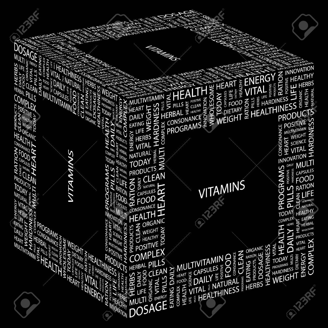 VITAMINS. Word collage on black background. Vector illustration. Stock Vector - 7363886
