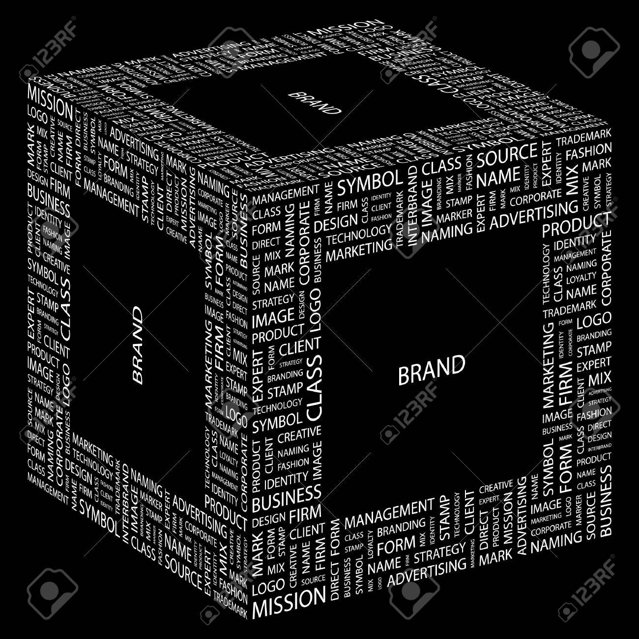 BRAND. Word collage on black background. Vector illustration. Stock Vector - 7363897