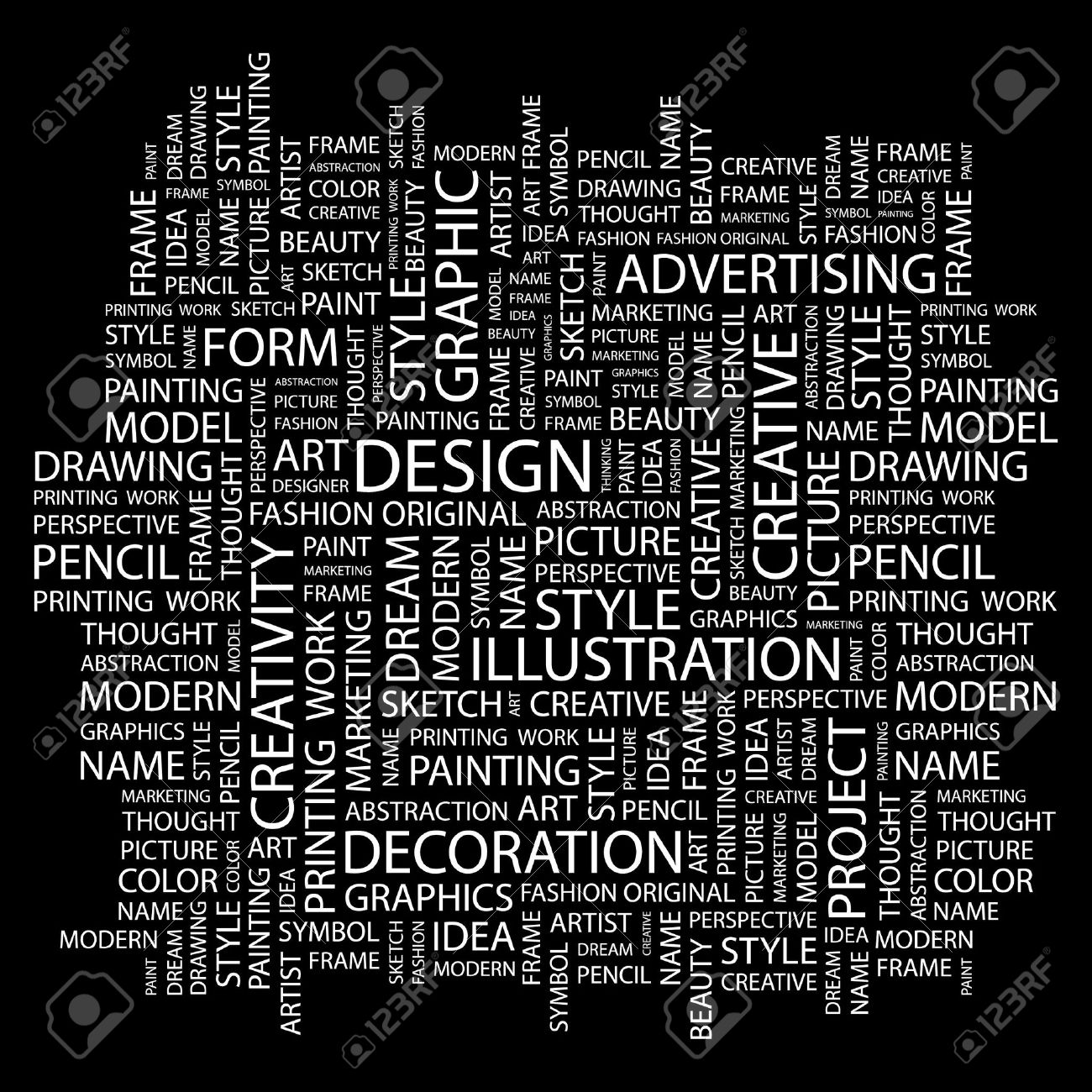 DESIGN. Word collage on black background. Vector illustration. Stock Vector - 7363555