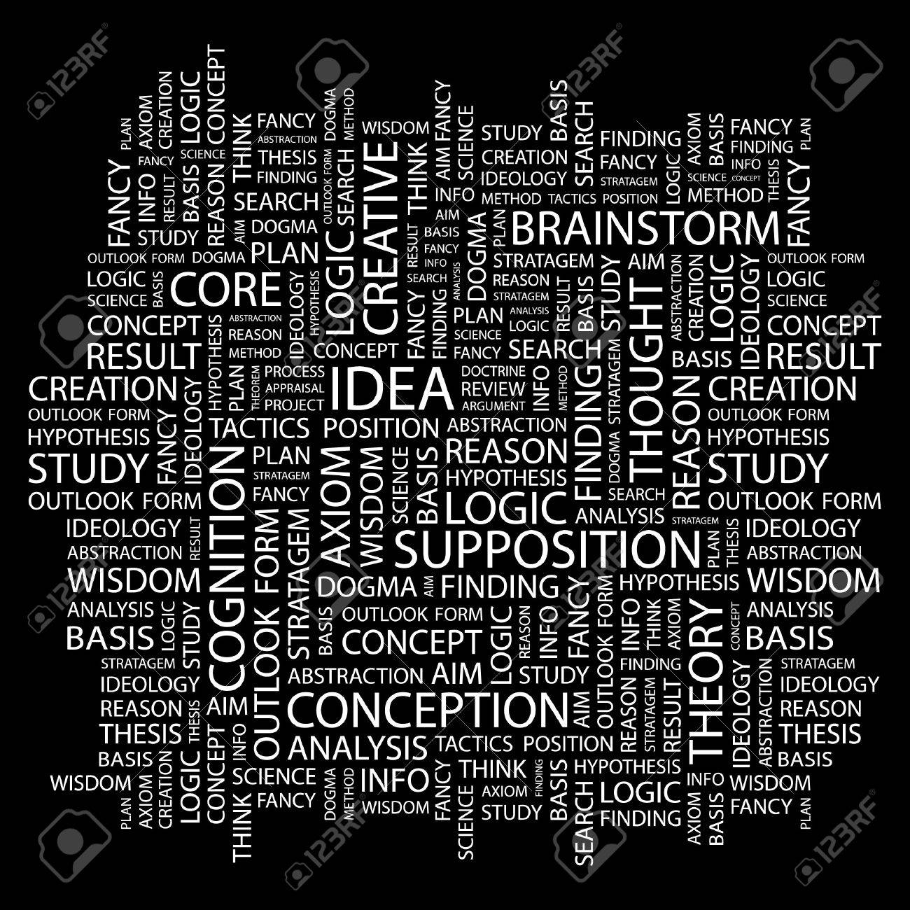 IDEA. Word collage on black background. Vector illustration. Stock Vector - 7363558
