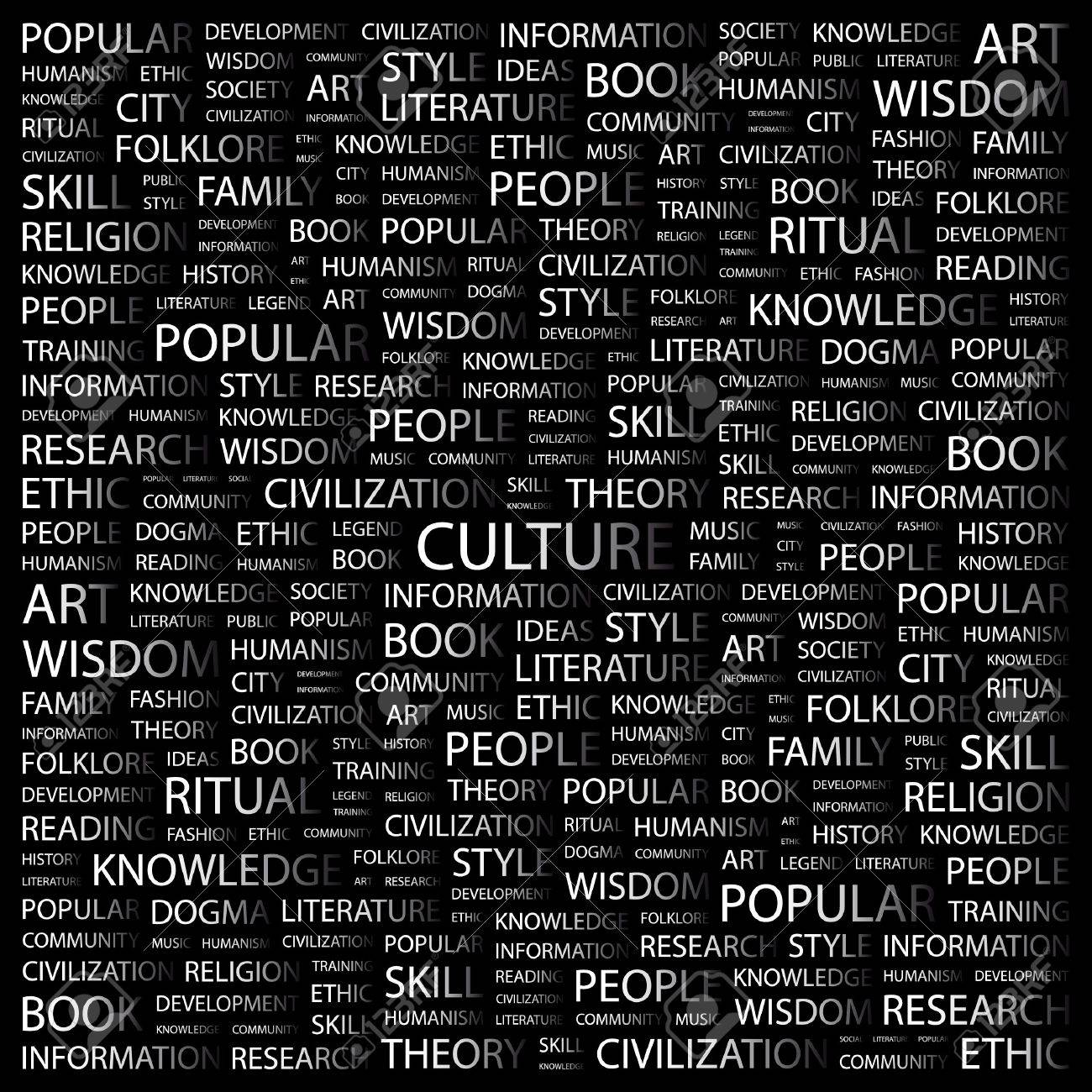 CULTURE. Word collage on black background. Vector illustration. Stock Vector - 7371672