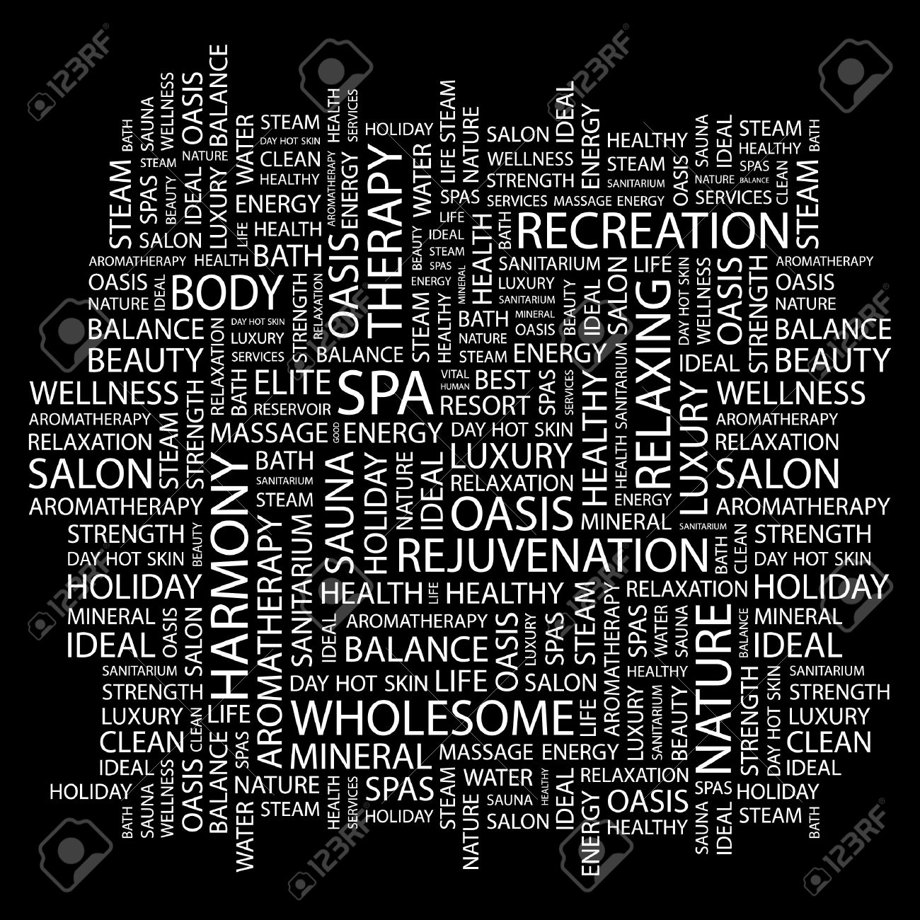 SPA. Word collage on black background. Vector illustration. Stock Vector - 7371515
