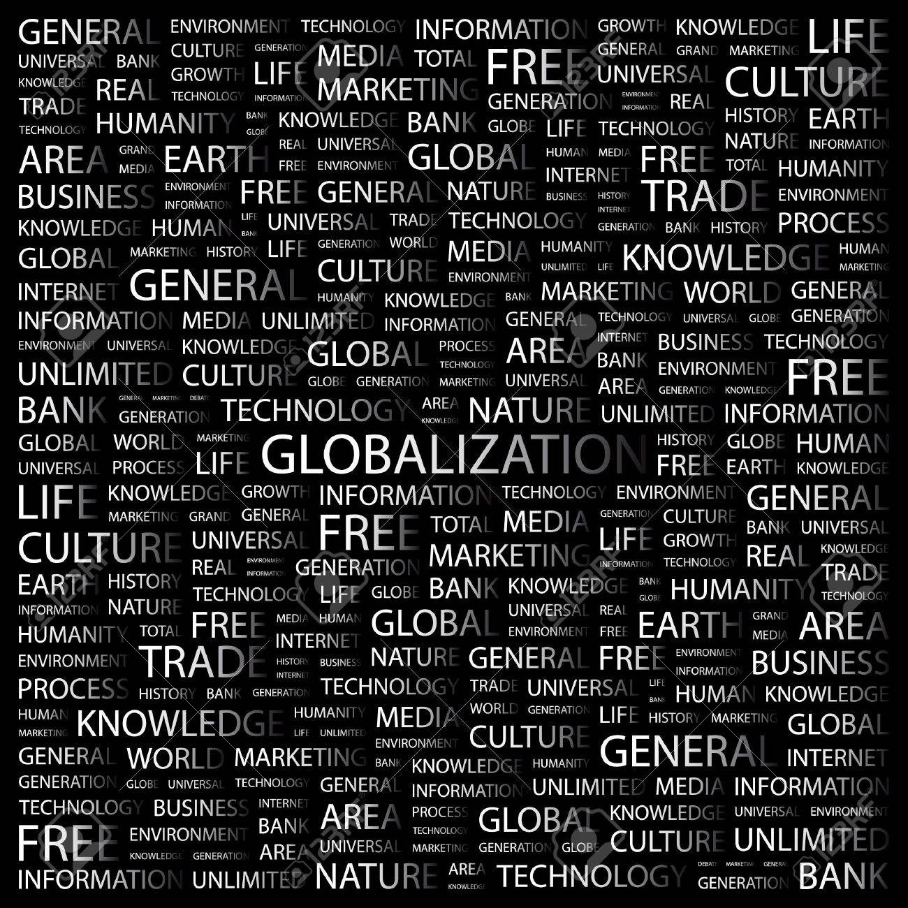 GLOBALIZATION. Word collage on black background. Vector illustration. Stock Vector - 7371747