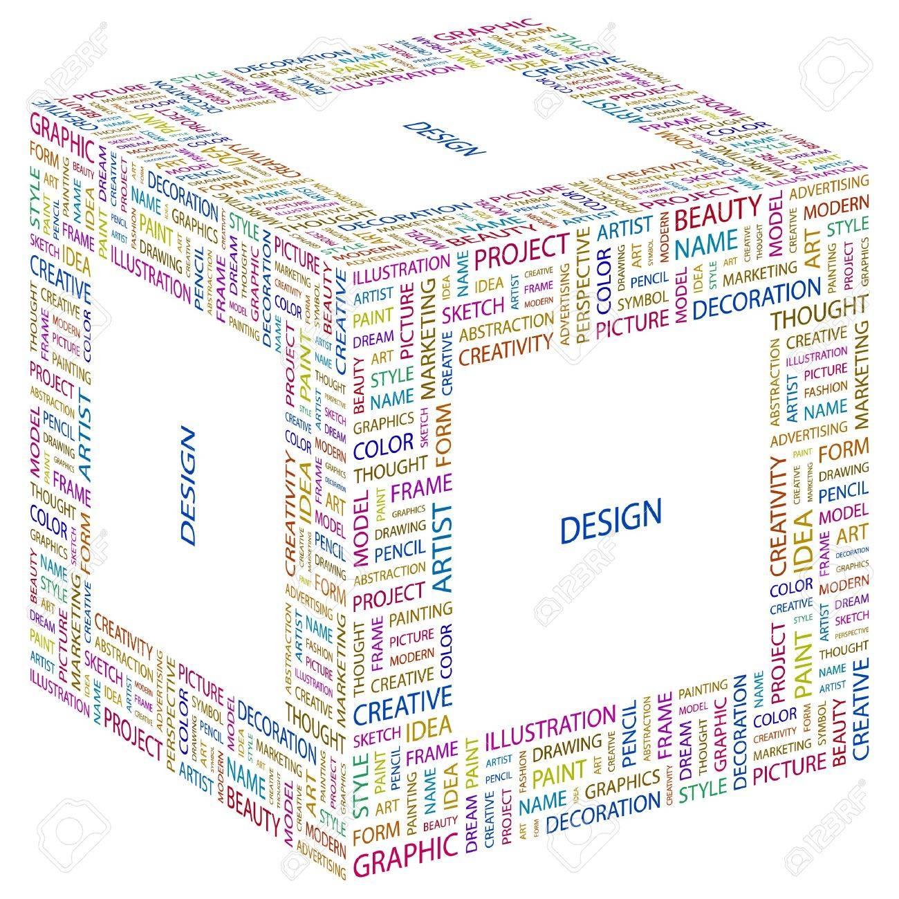 DESIGN. Word collage on white background. Vector illustration. Standard-Bild - 7371810