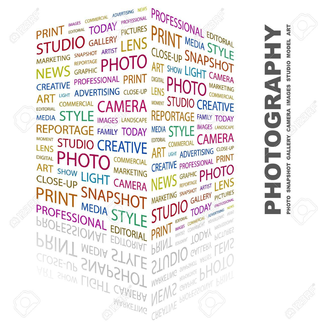 PHOTOGRAPHY. Word collage on white background. Vector illustration. Stock Vector - 7371686