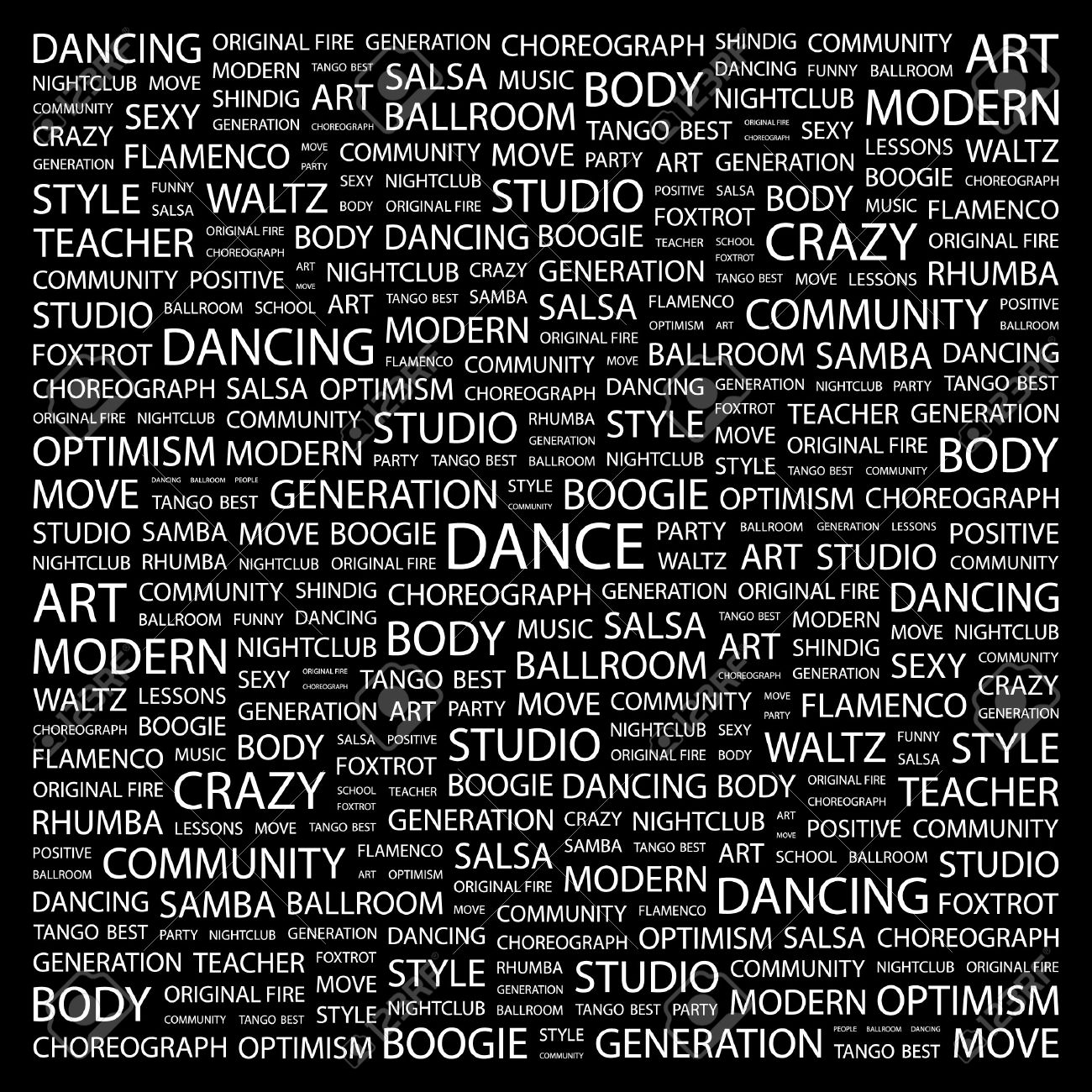 DANCE. Word collage on black background. Vector illustration. Stock Vector - 7371724