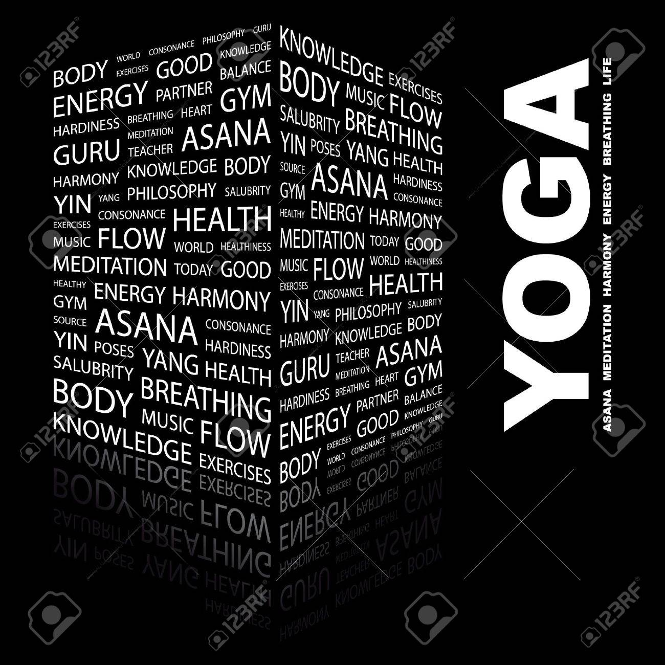 YOGA. Word collage on black background. Vector illustration. Stock Vector - 7371626