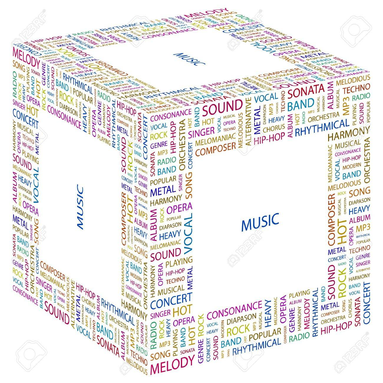 MUSIC. Word collage on white background. Vector illustration. Stock Vector - 7371786