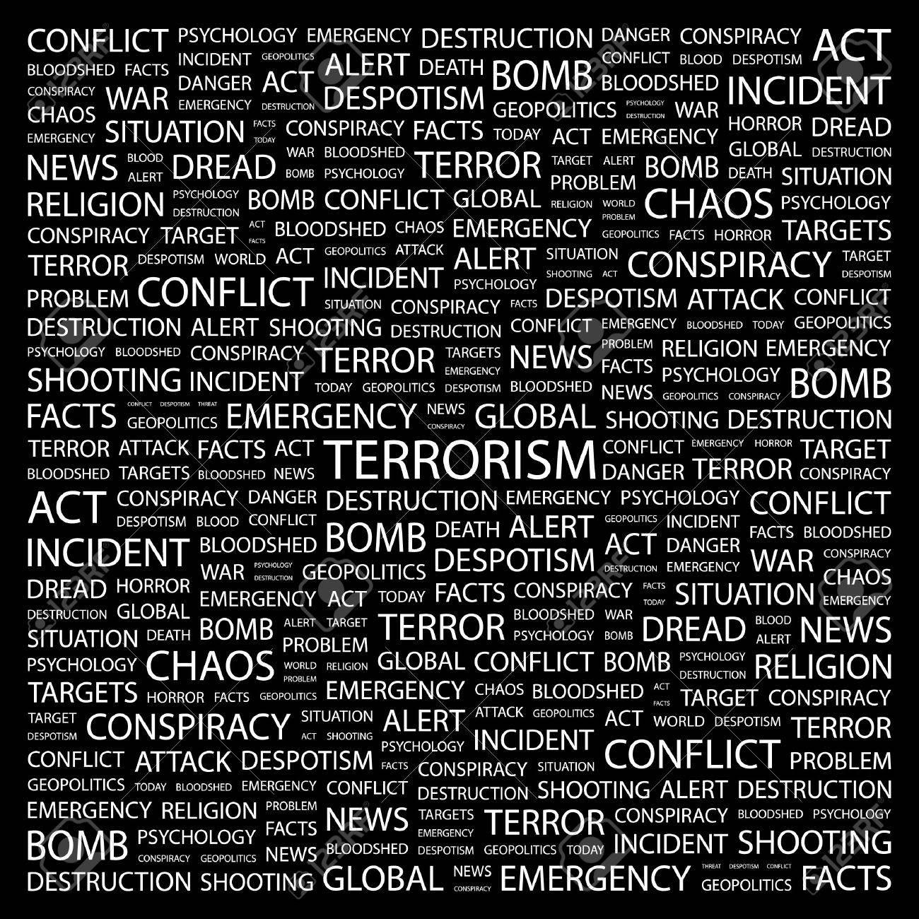TERRORISM. Word collage on black background. Vector illustration. Stock Vector - 7371640