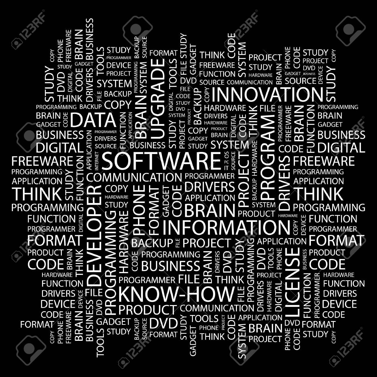 SOFTWARE. Word collage on black background. Vector illustration. Stock Vector - 7371629
