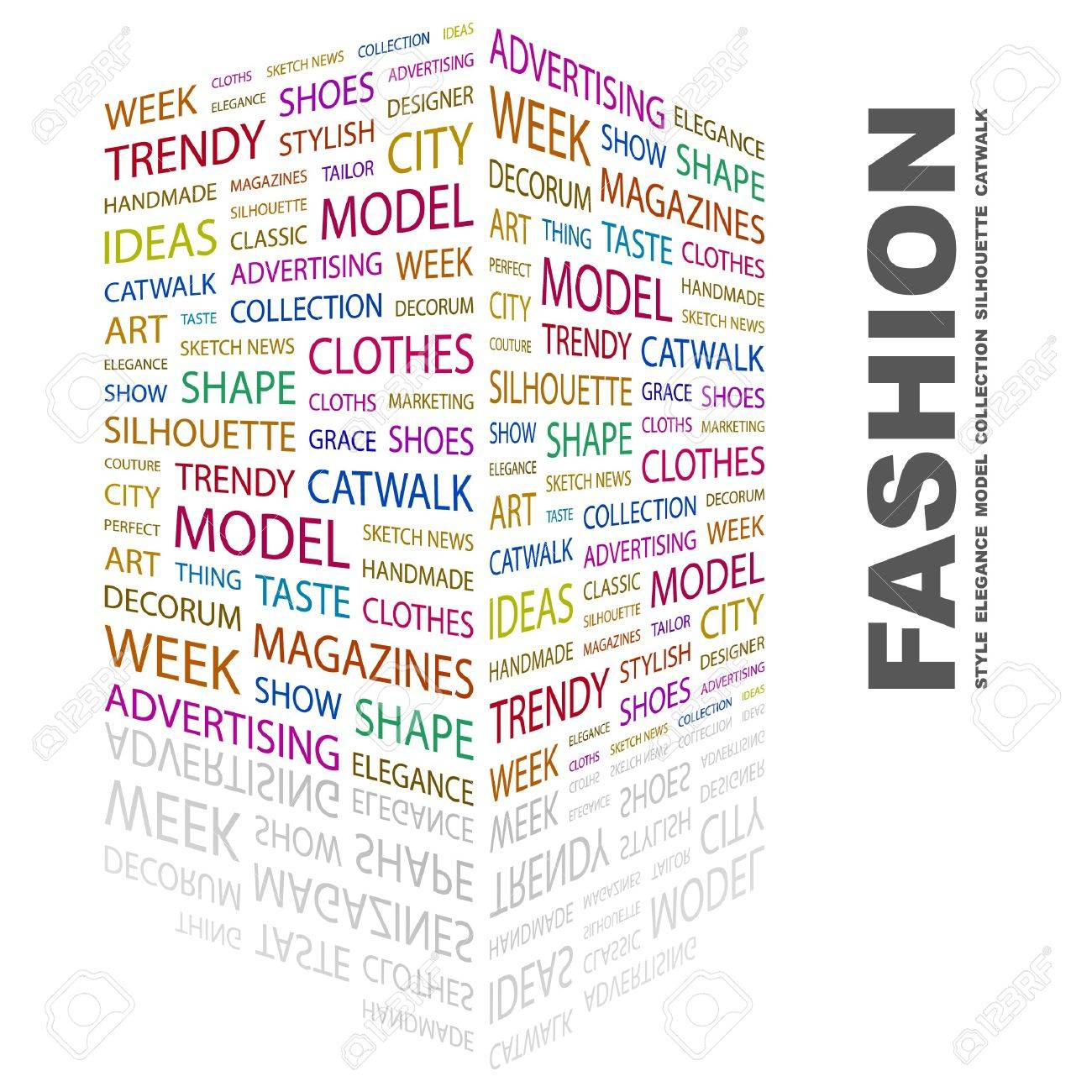 FASHION. Word collage on white background. Vector illustration. Stock Vector - 7371680