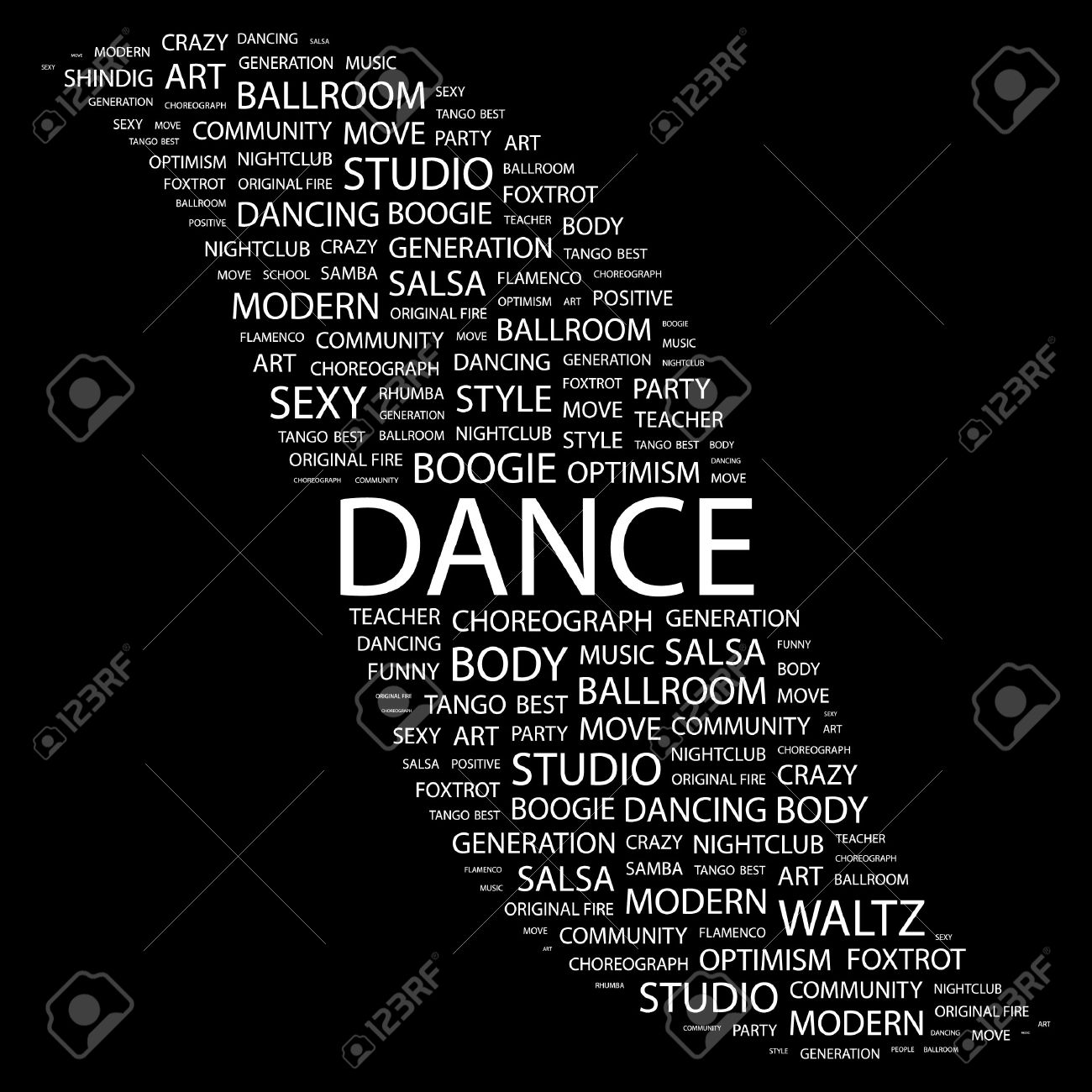 DANCE. Word collage on black background. Vector illustration. Stock Vector - 7371502