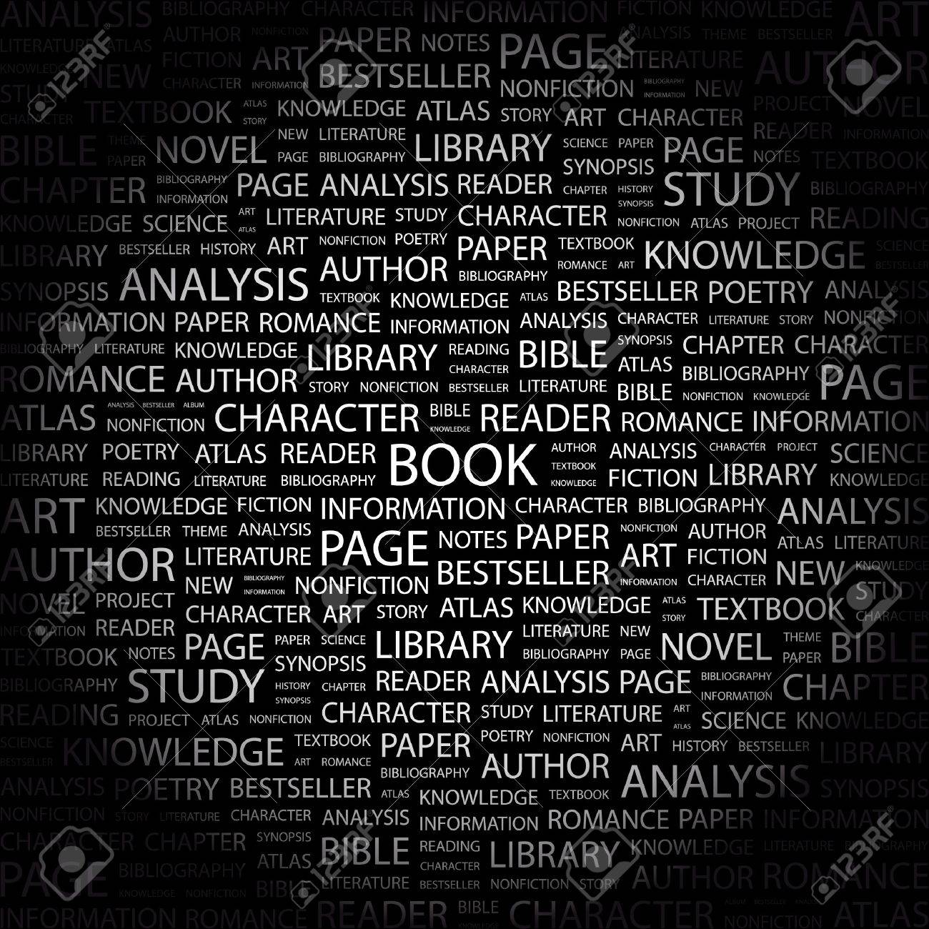 BOOK. Word collage on black background. Vector illustration. Stock Vector - 7371749