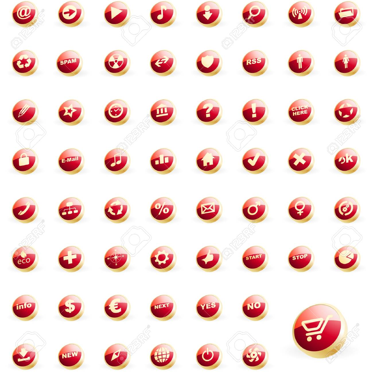 Great collection of web buttons Stock Vector - 7534219