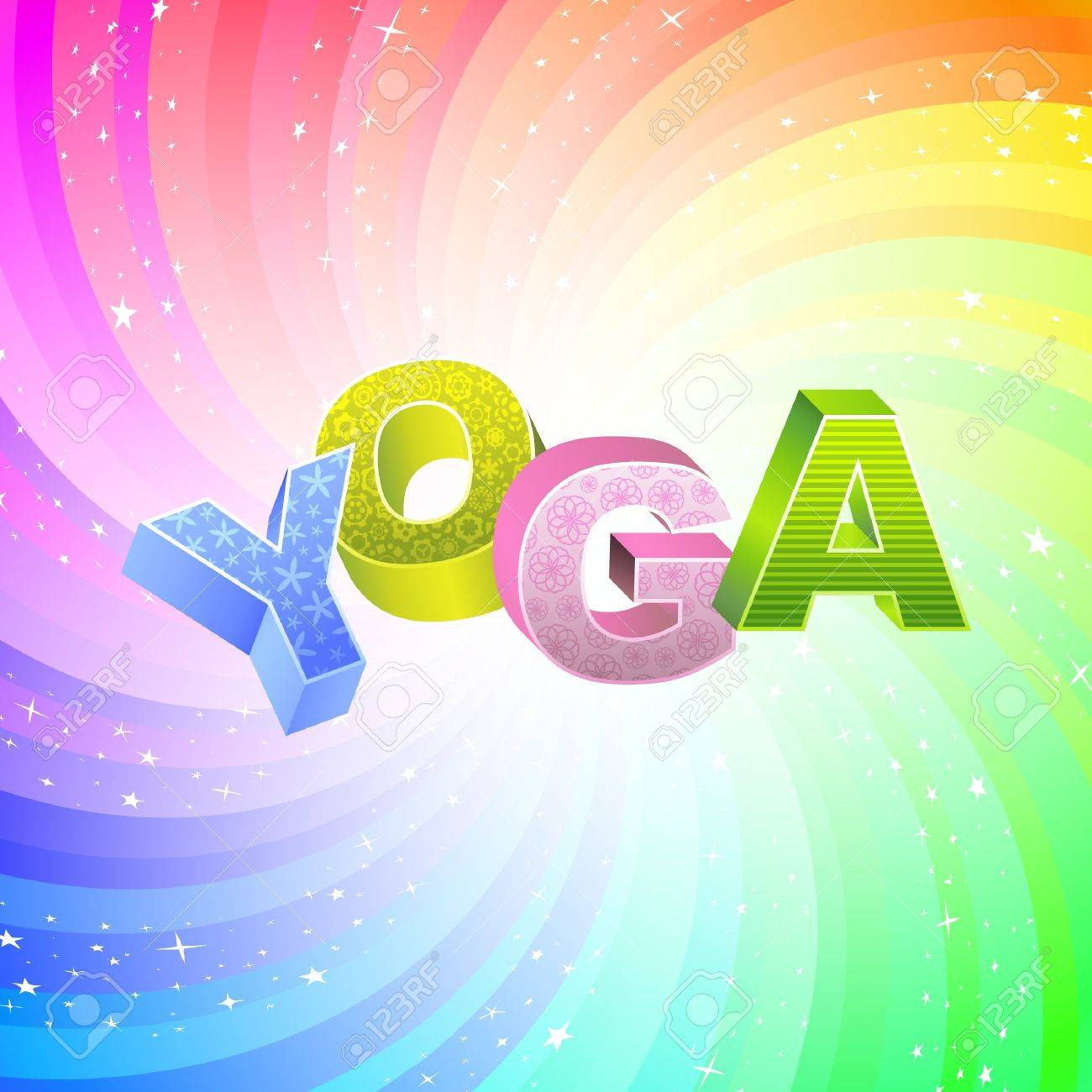 YOGA. Rainbow 3d illustration. Stock Vector - 7800727