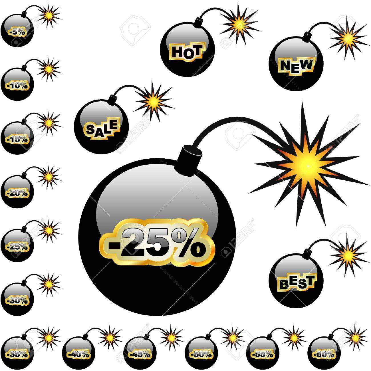 Discount label for sale. Bomb collection. Stock Vector - 7800599