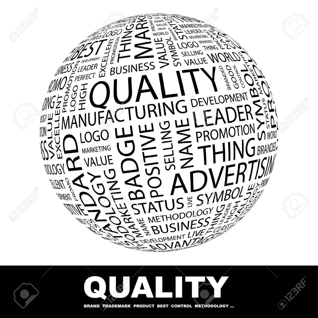 QUALITY. Globe with different association terms. Collage with word cloud. Stock Photo - 7995136
