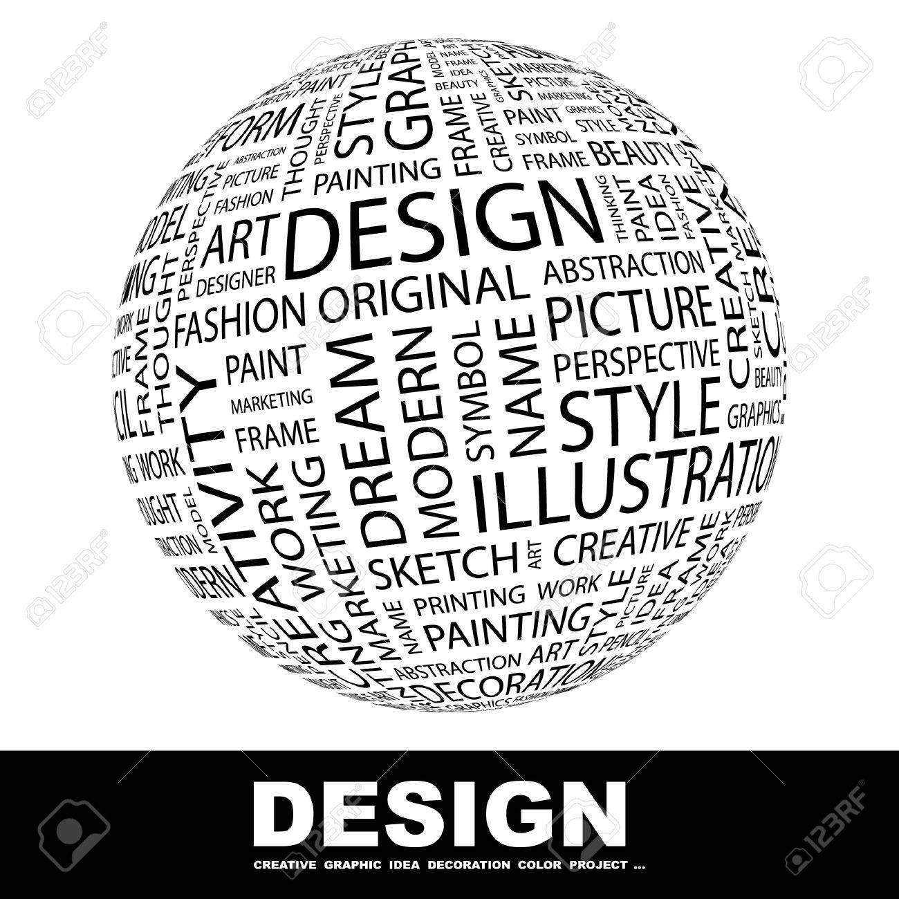DESIGN. Globe with different association terms. Collage with word cloud. Standard-Bild - 7995137