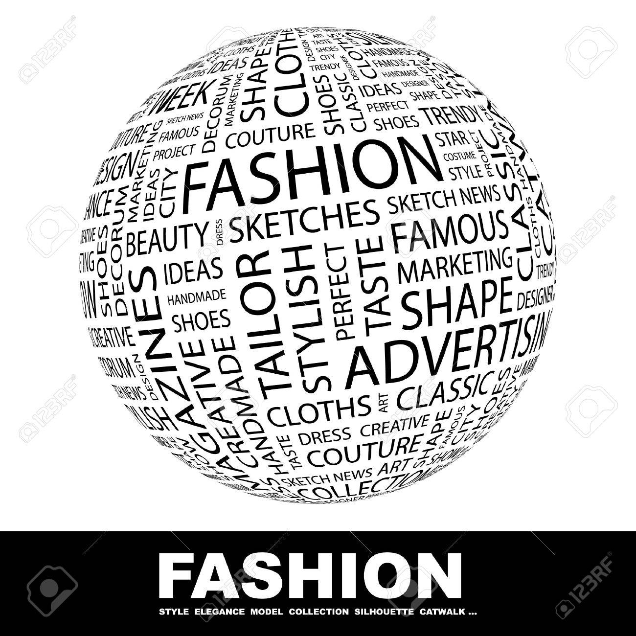 FASHION. Globe with different association terms. Collage with word cloud. Stock Photo - 7995140