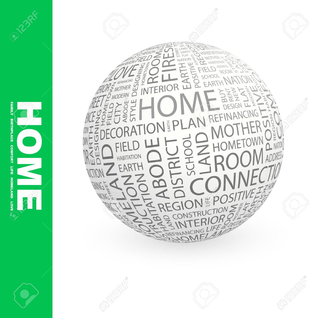 HOME. Globe with different association terms. Stock Photo - 8301135
