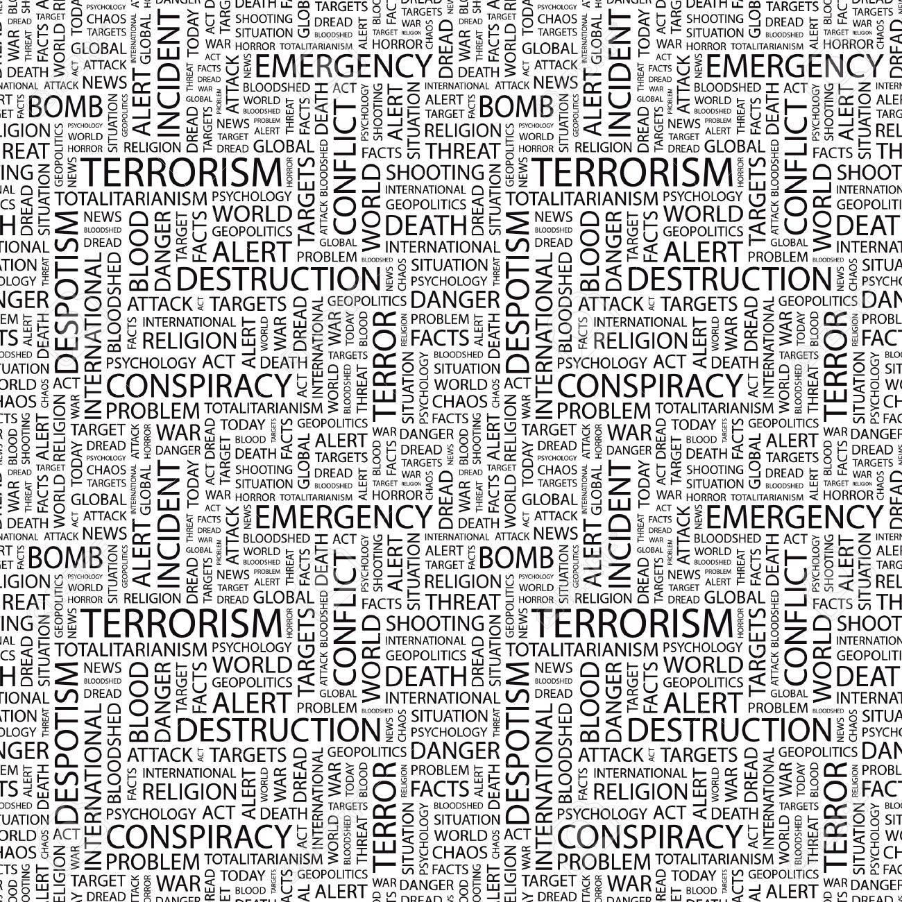 TERRORISM. Seamless pattern with word cloud. Illustration with different association terms. Stock Illustration - 7995186