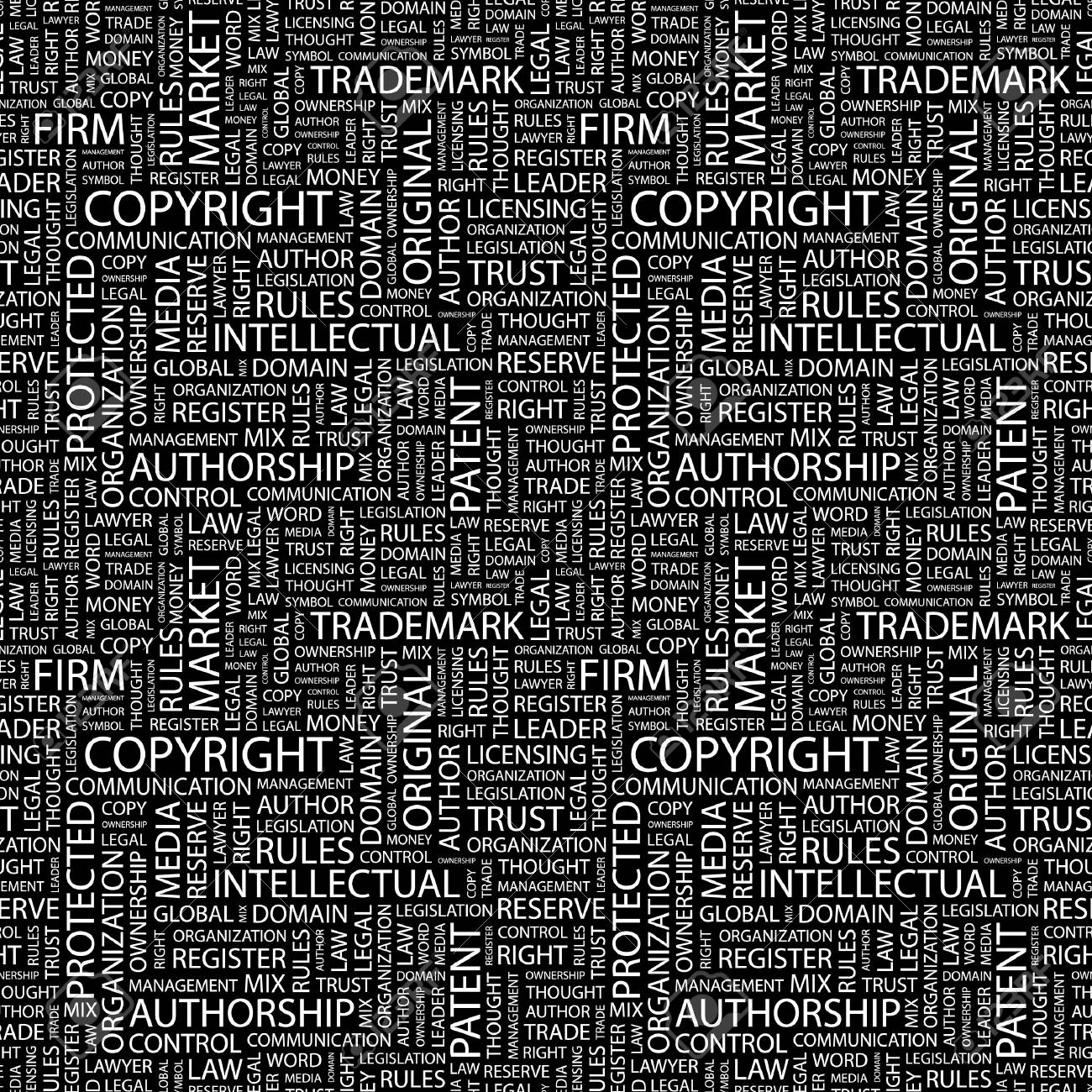 COPYRIGHT. Seamless pattern with word cloud. Stock Photo - 8292039