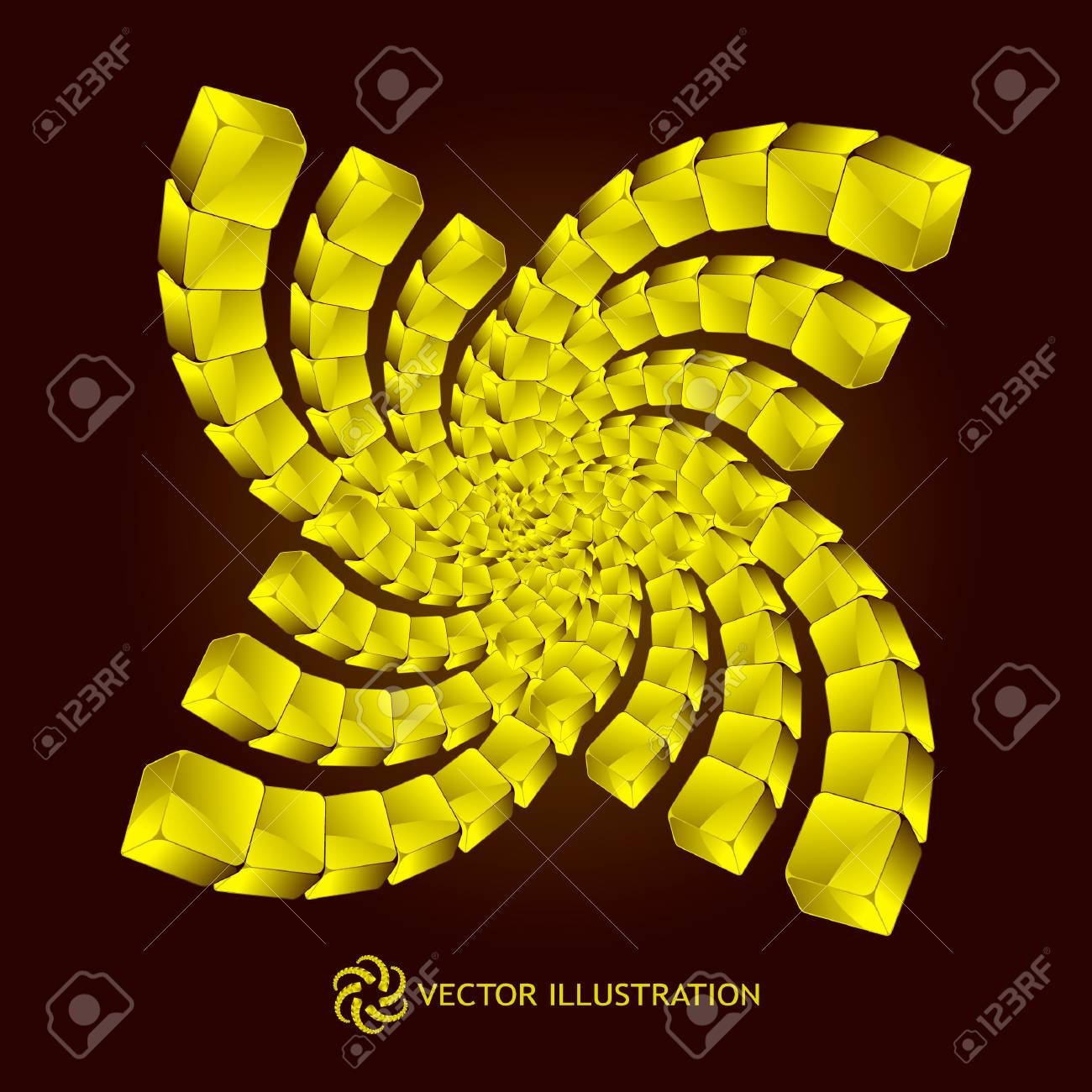 Abstract element with golden boxes Stock Photo - 8236874