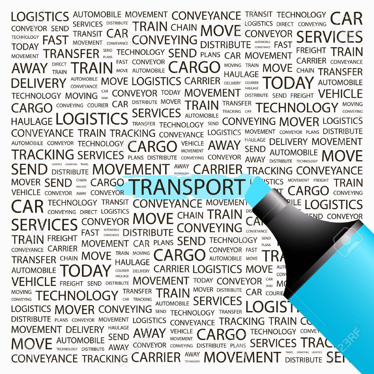 TRANSPORT. Highlighter over background with different association terms. Vector illustration. Stock Vector - 9033745