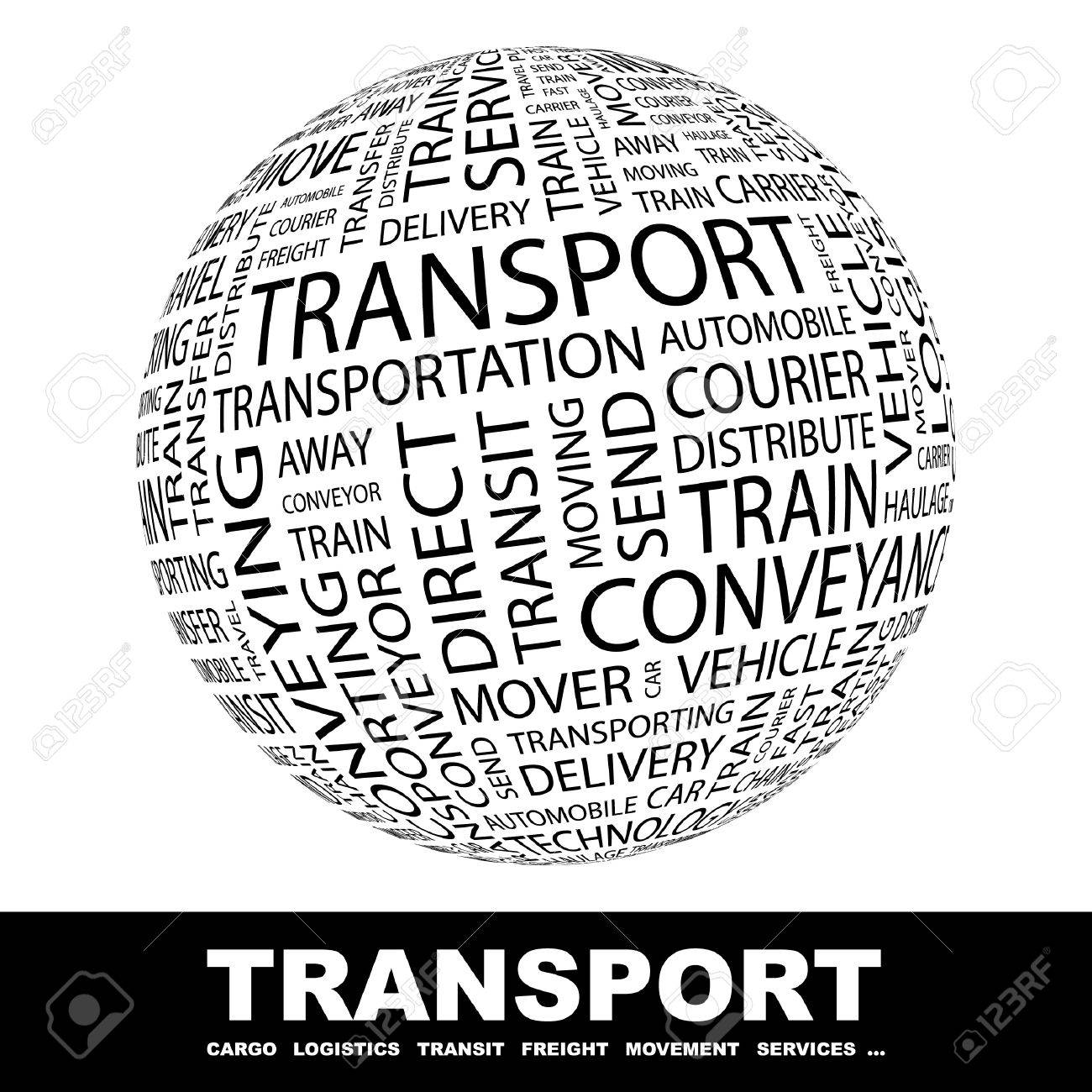 TRANSPORT. Globe with different association terms. Wordcloud vector illustration. Stock Vector - 9128385