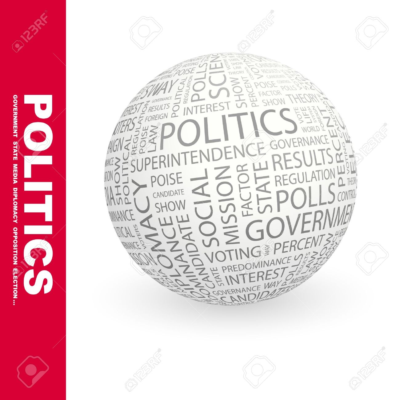 POLITICS. Globe with different association terms. Wordcloud vector illustration. Stock Vector - 9033760