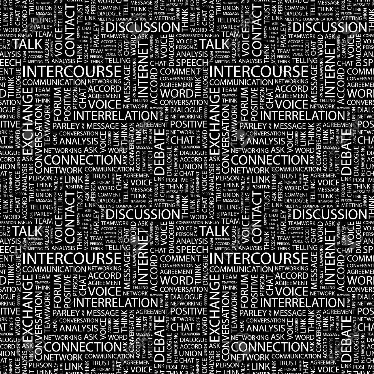 INTERCOURSE. Seamless vector pattern with word cloud. Illustration with different association terms. Stock Vector - 9033769