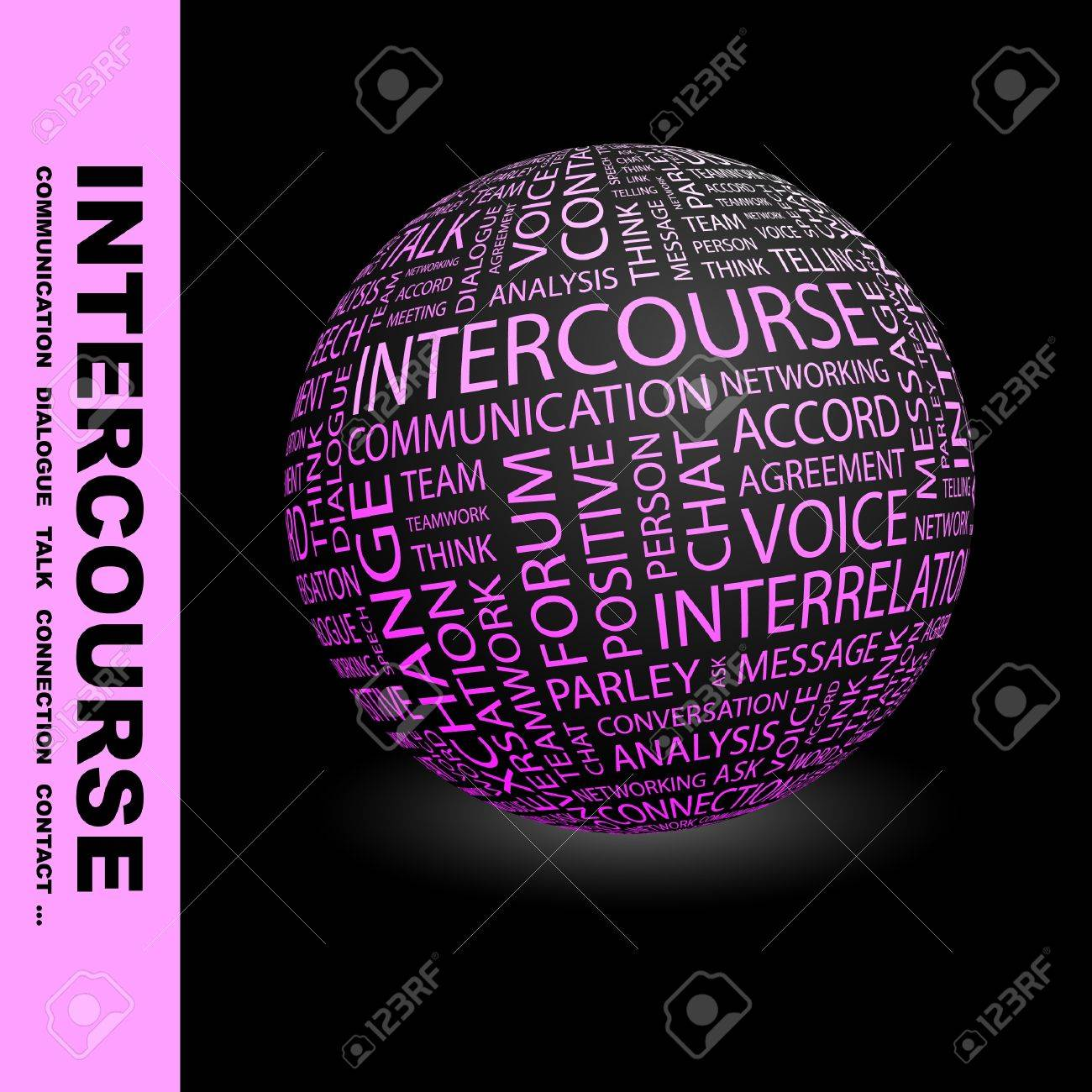 INTERCOURSE. Globe with different association terms. Wordcloud vector illustration. Stock Vector - 9033753