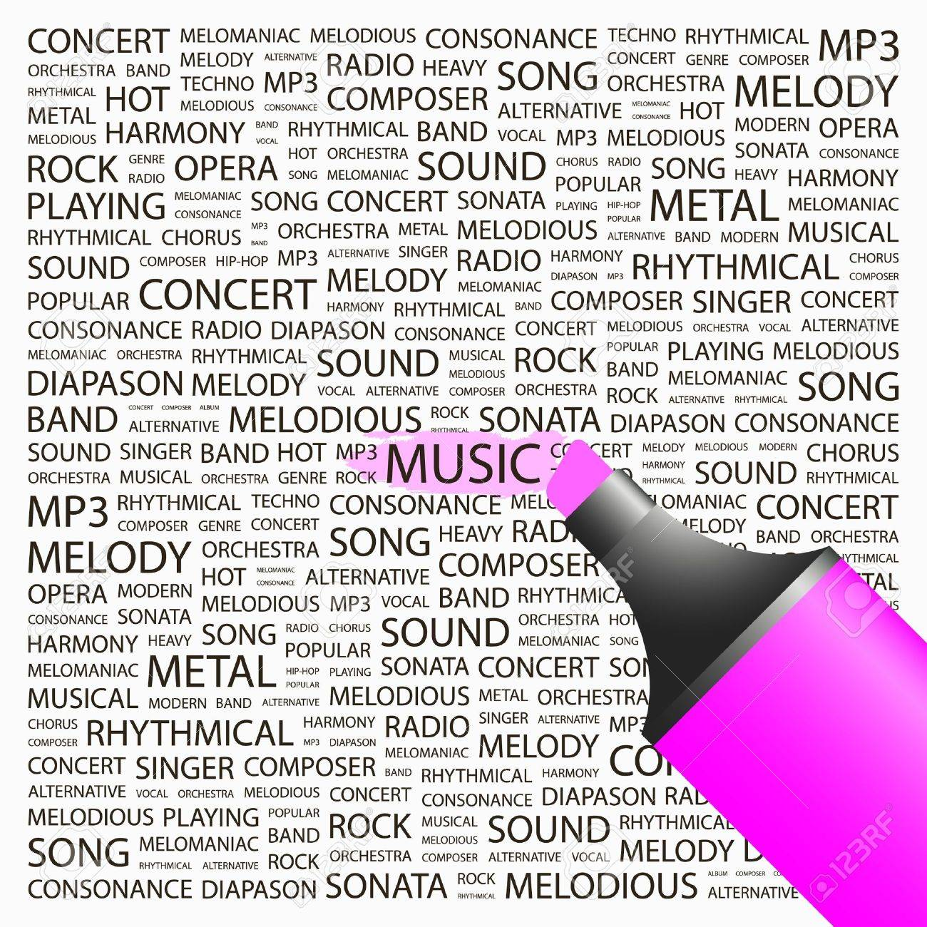 MUSIC. Highlighter over background with different association terms. Vector illustration. Stock Vector - 9033744