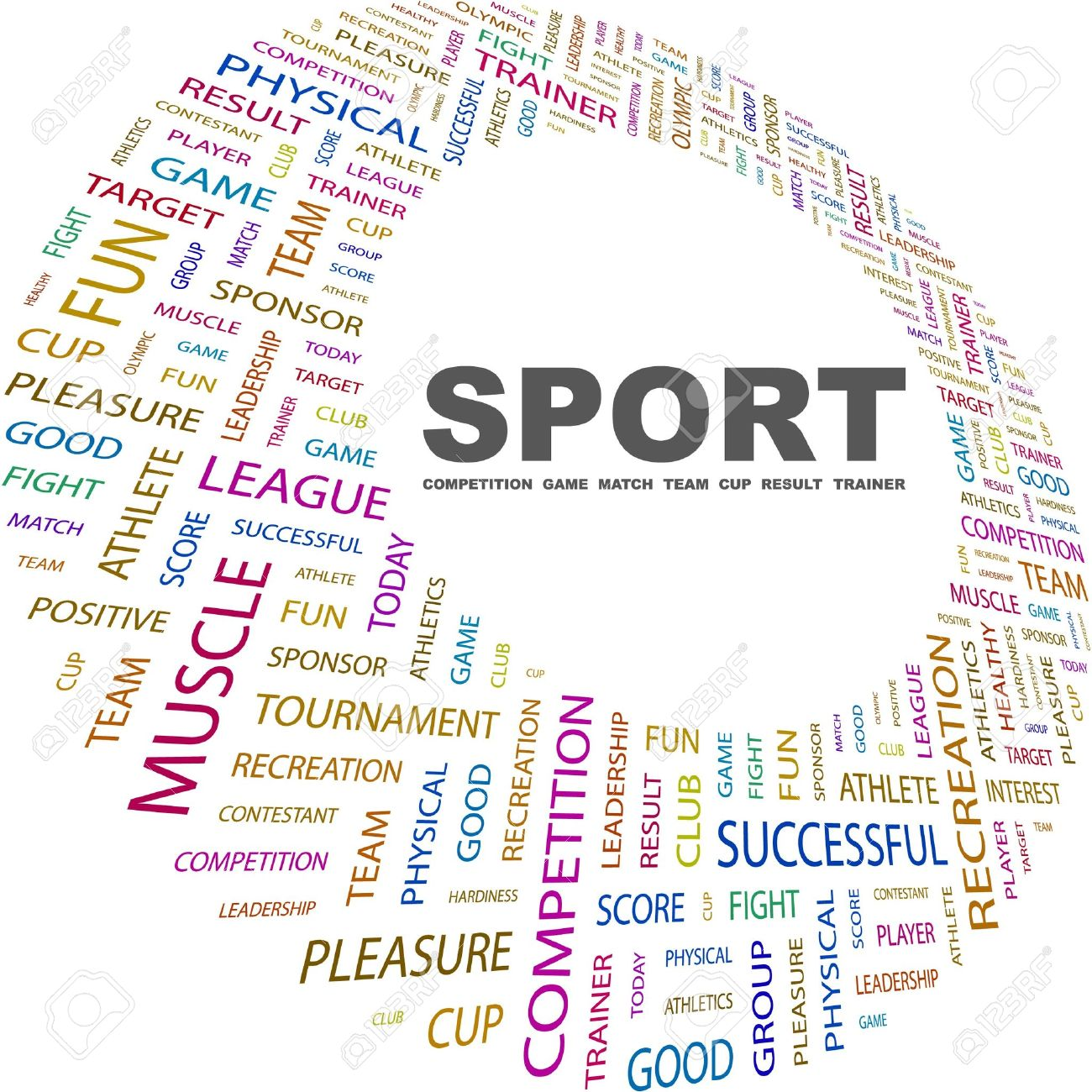 SPORT. Word collage on white background. Vector illustration. Illustration with different association terms. Stock Vector - 9033846