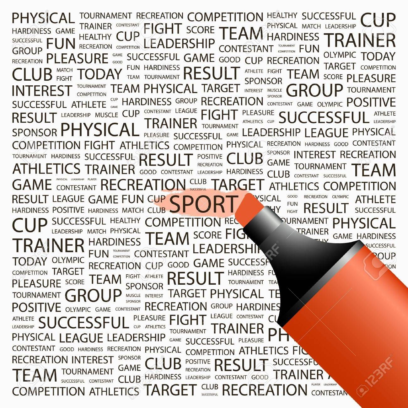 SPORT. Highlighter over background with different association terms. Vector illustration. Stock Vector - 9128434