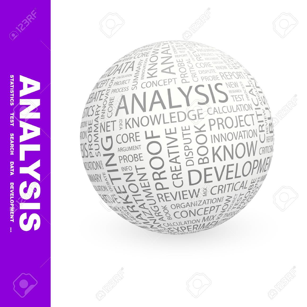 ANALYSIS. Globe with different association terms. Wordcloud vector illustration. Stock Vector - 9128820