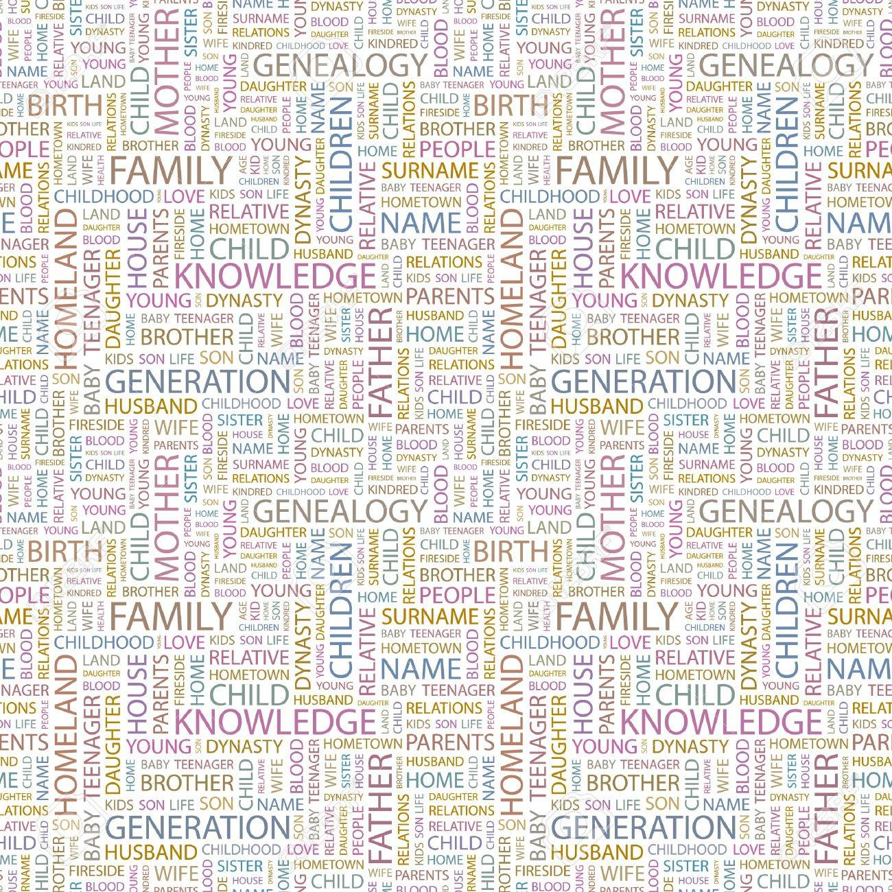 FAMILY. Seamless vector pattern with word cloud. Illustration with different association terms. Stock Vector - 9033972
