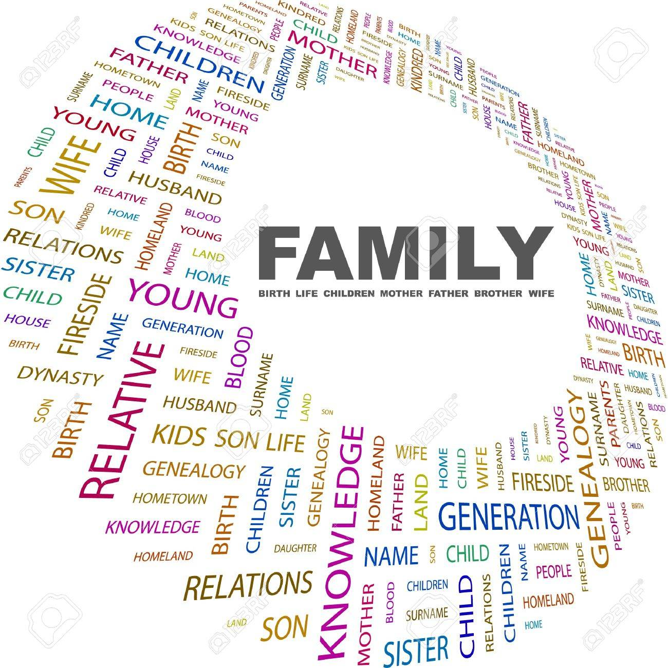 FAMILY. Word Collage On White Background. Vector Illustration ...