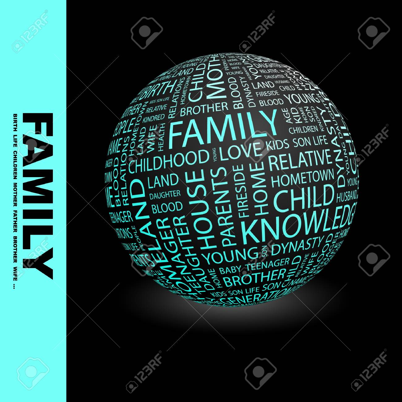 FAMILY. Globe with different association terms. Wordcloud vector illustration. Stock Vector - 9033919