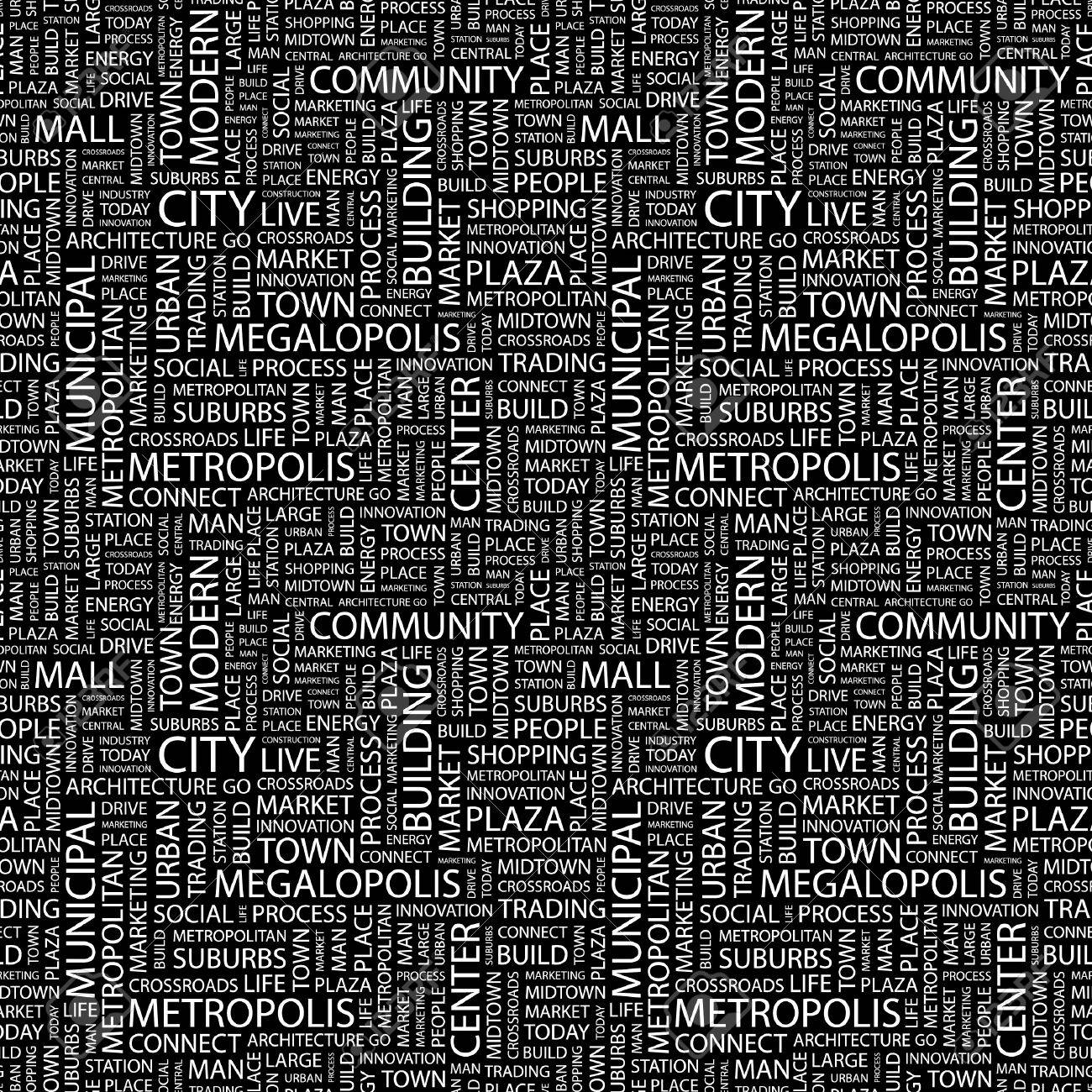 CITY. Seamless vector pattern with word cloud. Illustration with different association terms. Stock Vector - 9033983