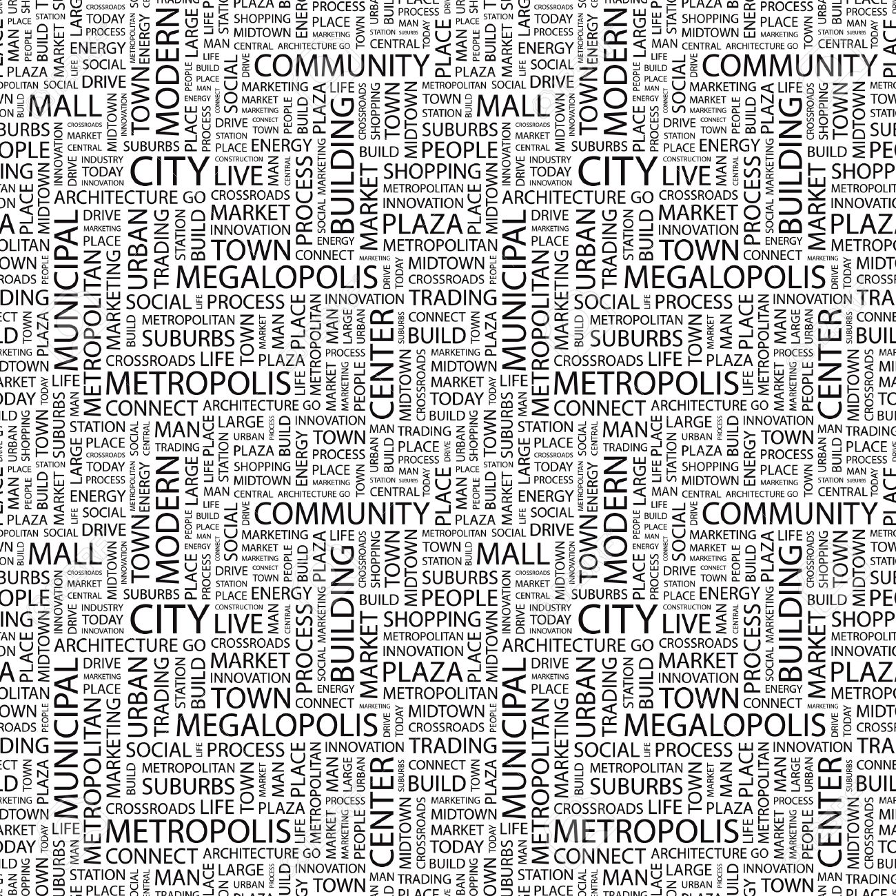CITY. Seamless vector pattern with word cloud. Illustration with different association terms. Stock Vector - 9128940