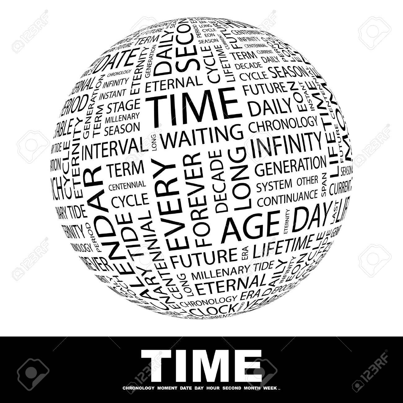 TIME. Globe with different association terms. Wordcloud vector illustration. Stock Vector - 9129241