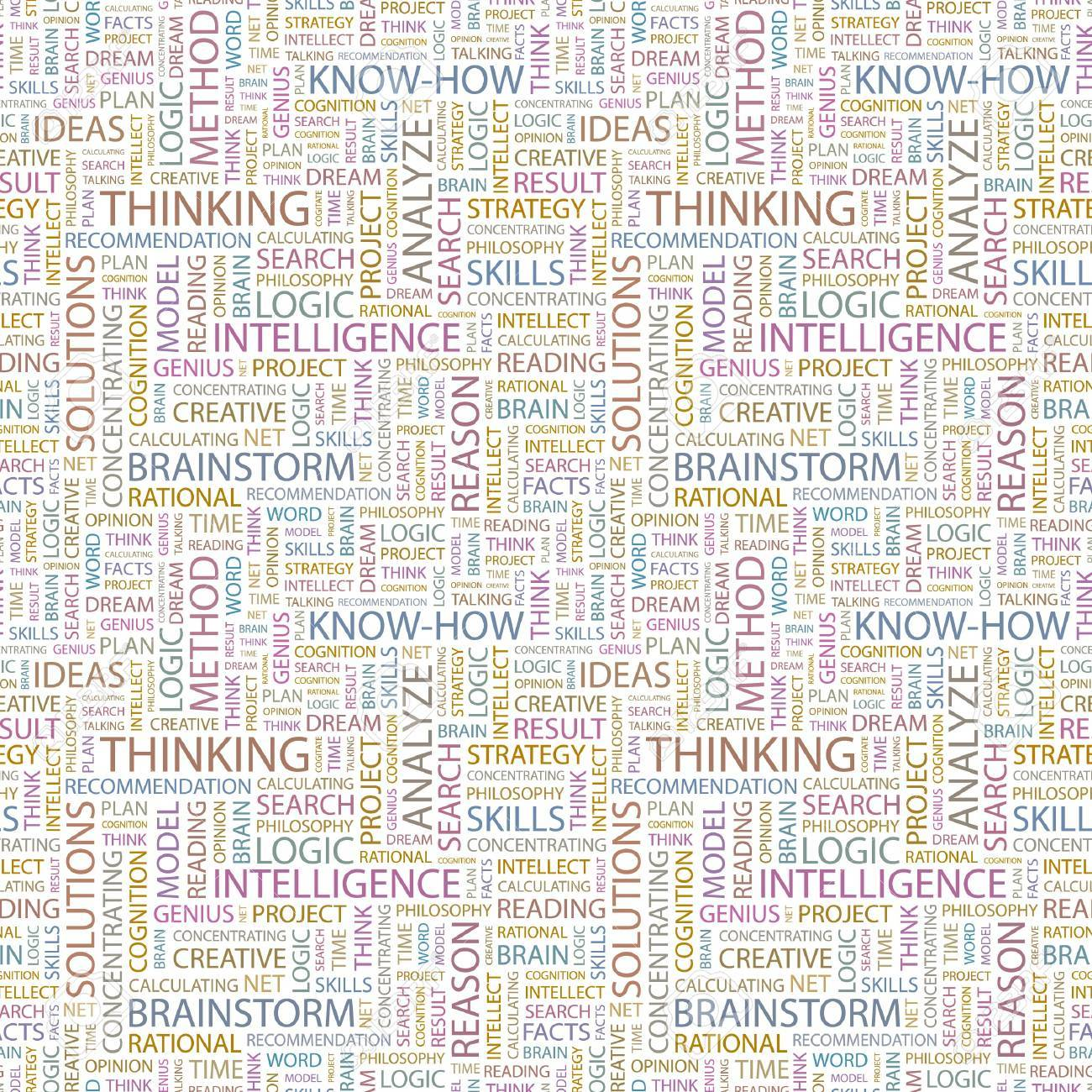 THINKING. Seamless vector background. Wordcloud illustration. Illustration with different association terms. Stock Vector - 8840228