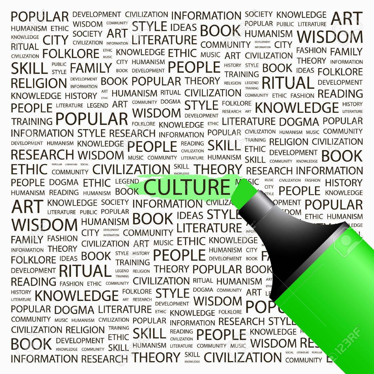 CULTURE. Highlighter over background with different association terms. Vector illustration. Stock Vector - 9129613