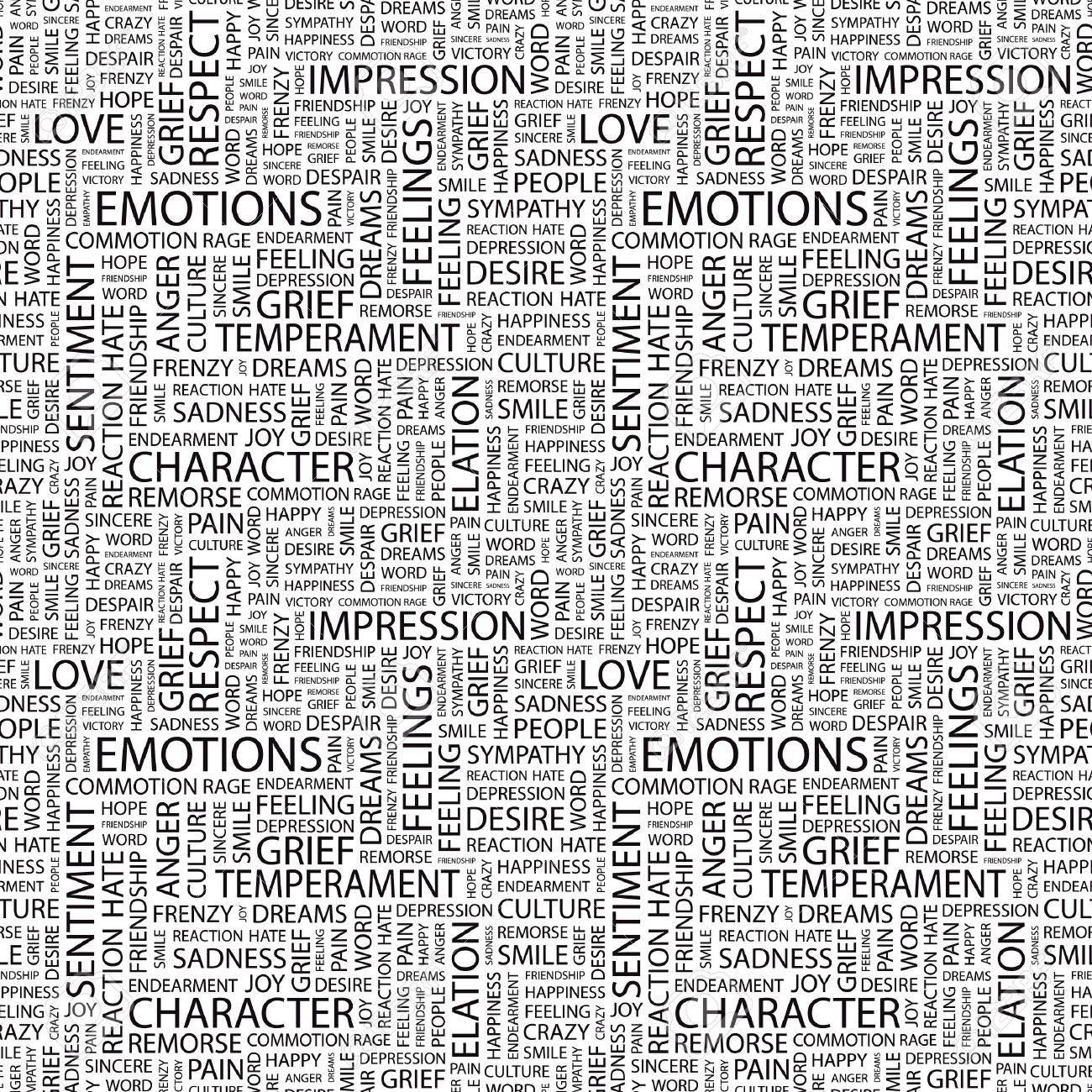 EMOTIONS. Seamless vector pattern with word cloud. Illustration with different association terms. Stock Vector - 8840263