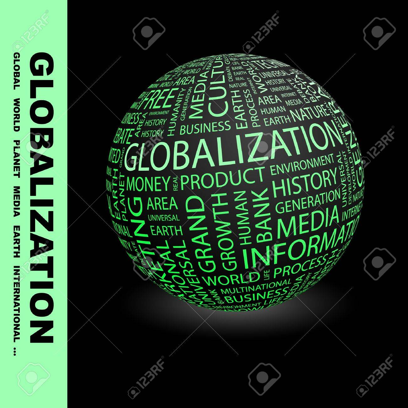 GLOBALIZATION. Globe with different association terms. Wordcloud vector illustration. Stock Vector - 9033923